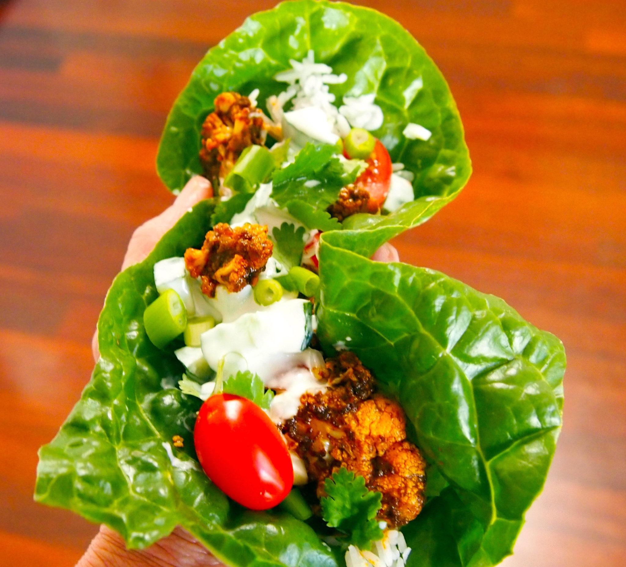 Vegan MoFo Tandoori Cauliflower & Cucumber Raita Wraps - Vegan ...