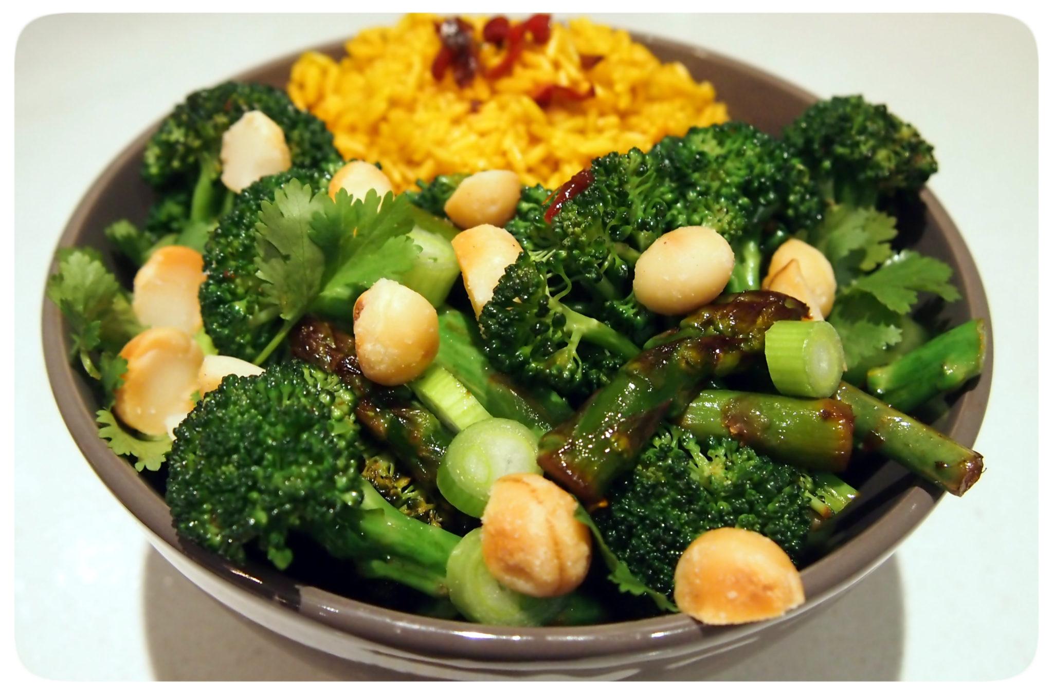 Broccolini Stir-Fry, Dry Roasted Macadamias & Turmeric Rice