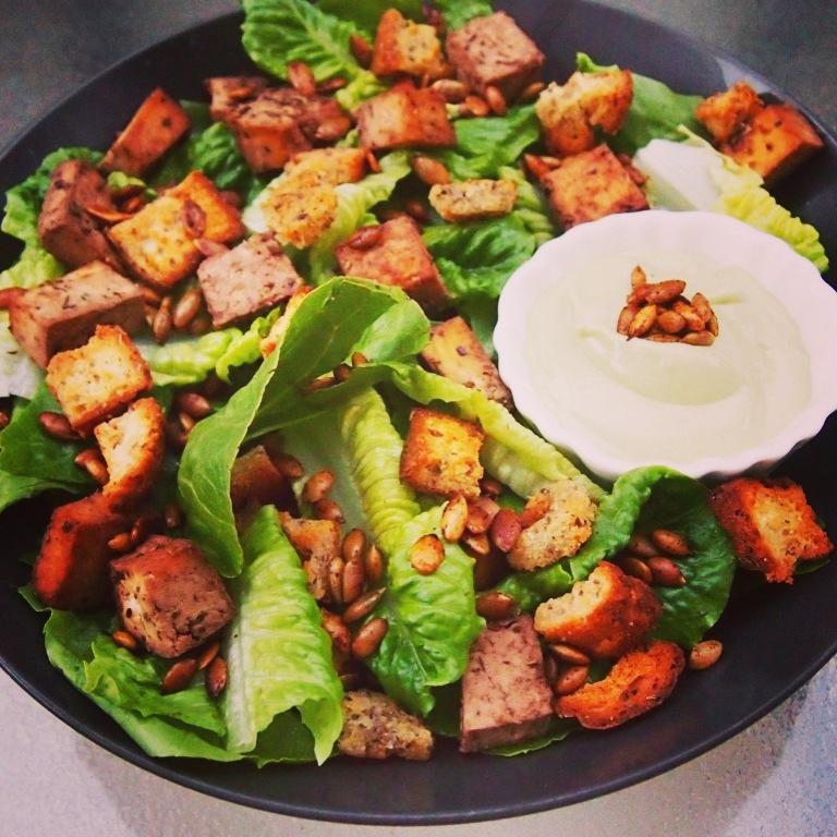 California vegan caesar herb tofu salad vegan sparkles for Adama vegan comfort cuisine