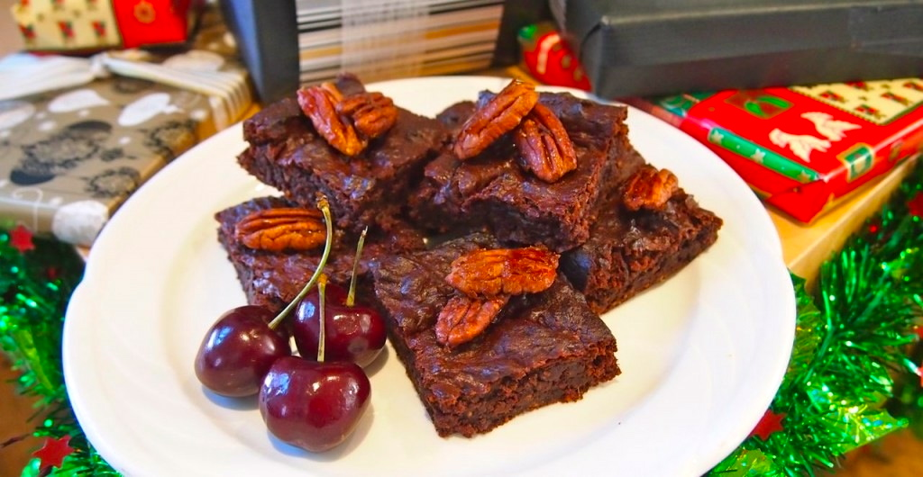 Fudge Brownies with Candied Pecans