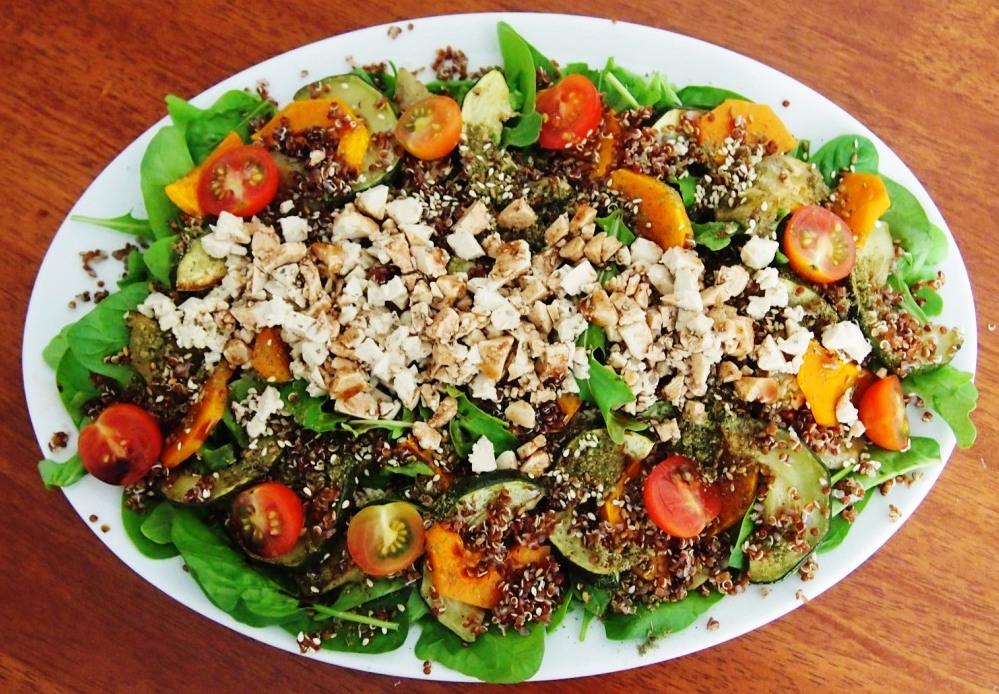 Roast Veg, Quinoa & Dukkah Salad with Tofu Feta