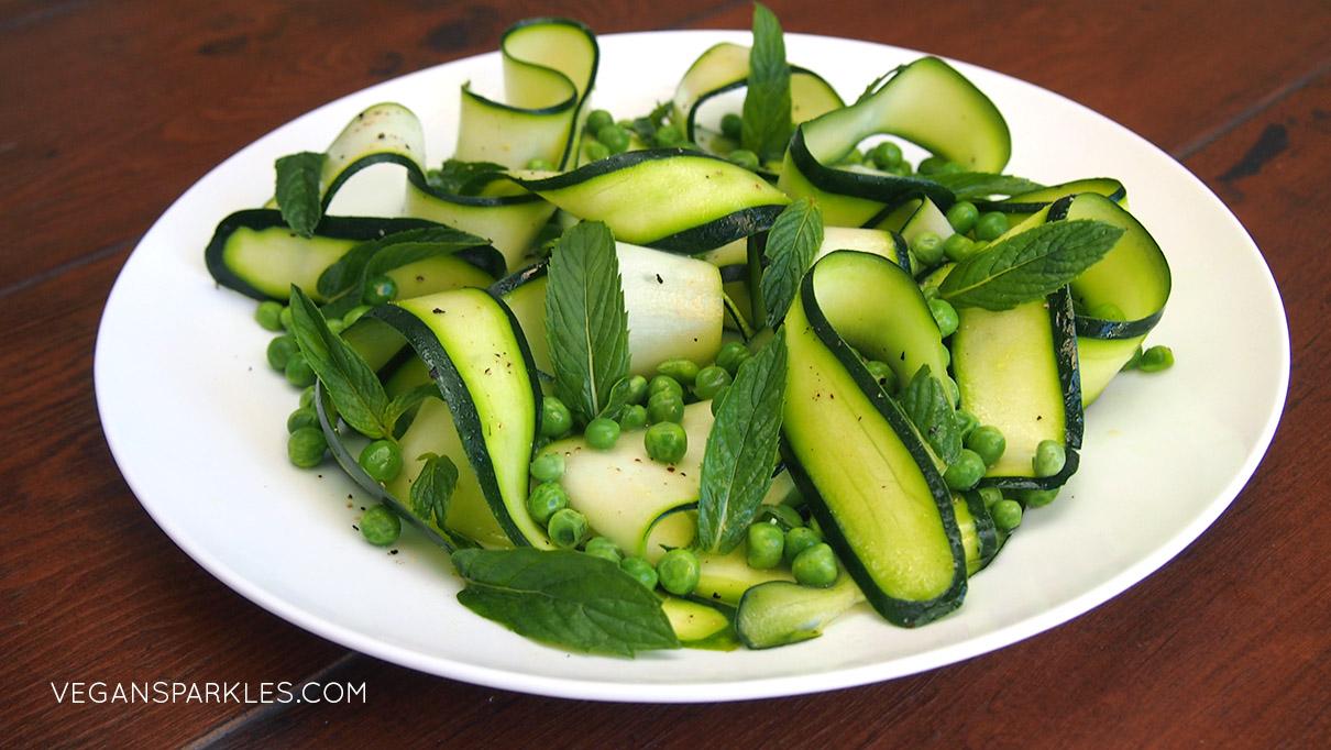 Raw Zucchini, Pea & Mint Salad